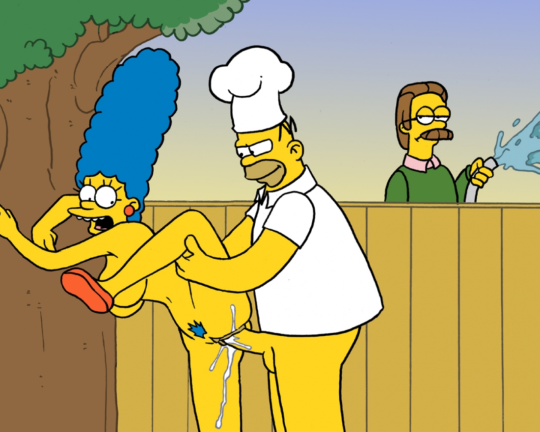 marge simpson with apron naked