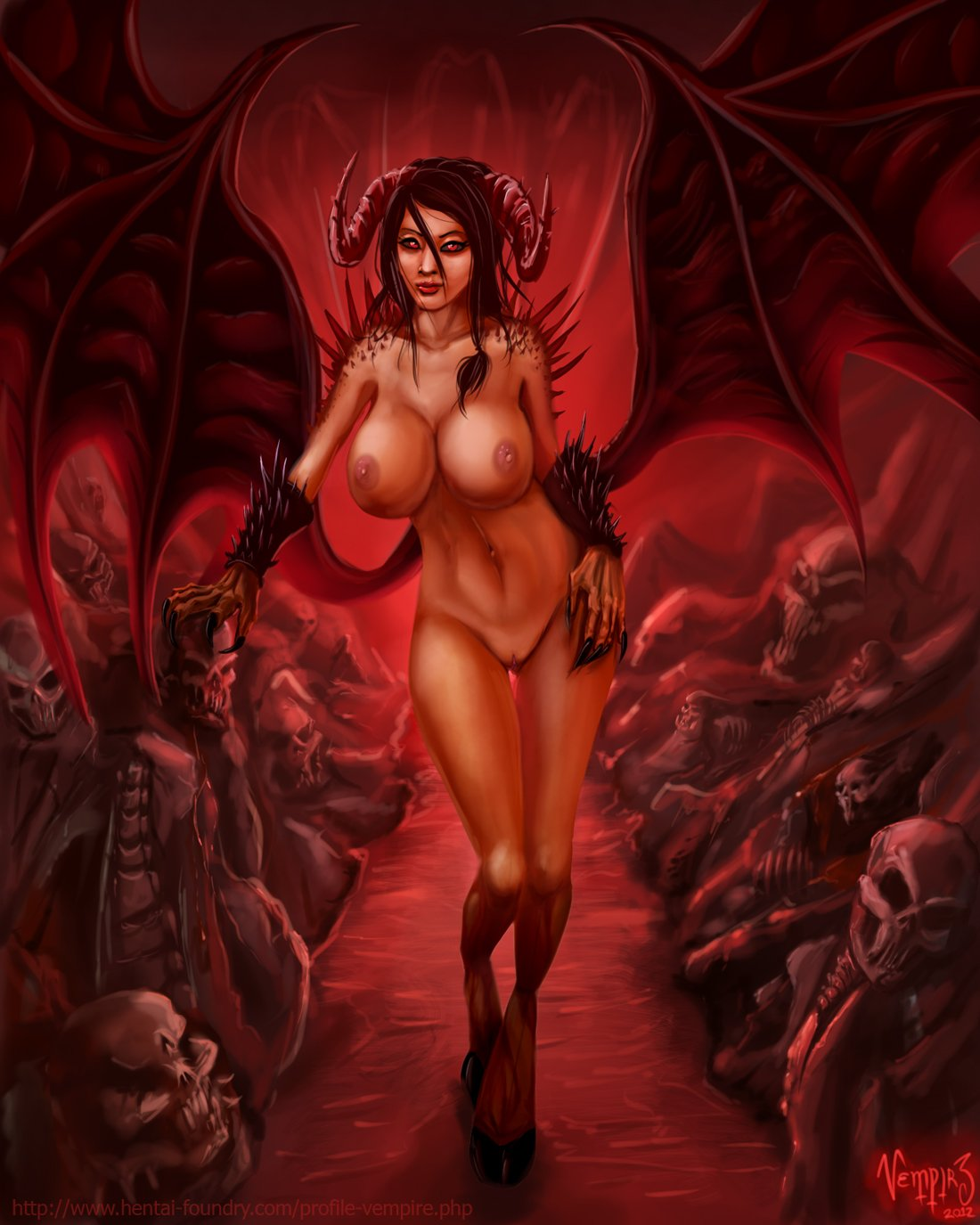 Sexy female devil nude