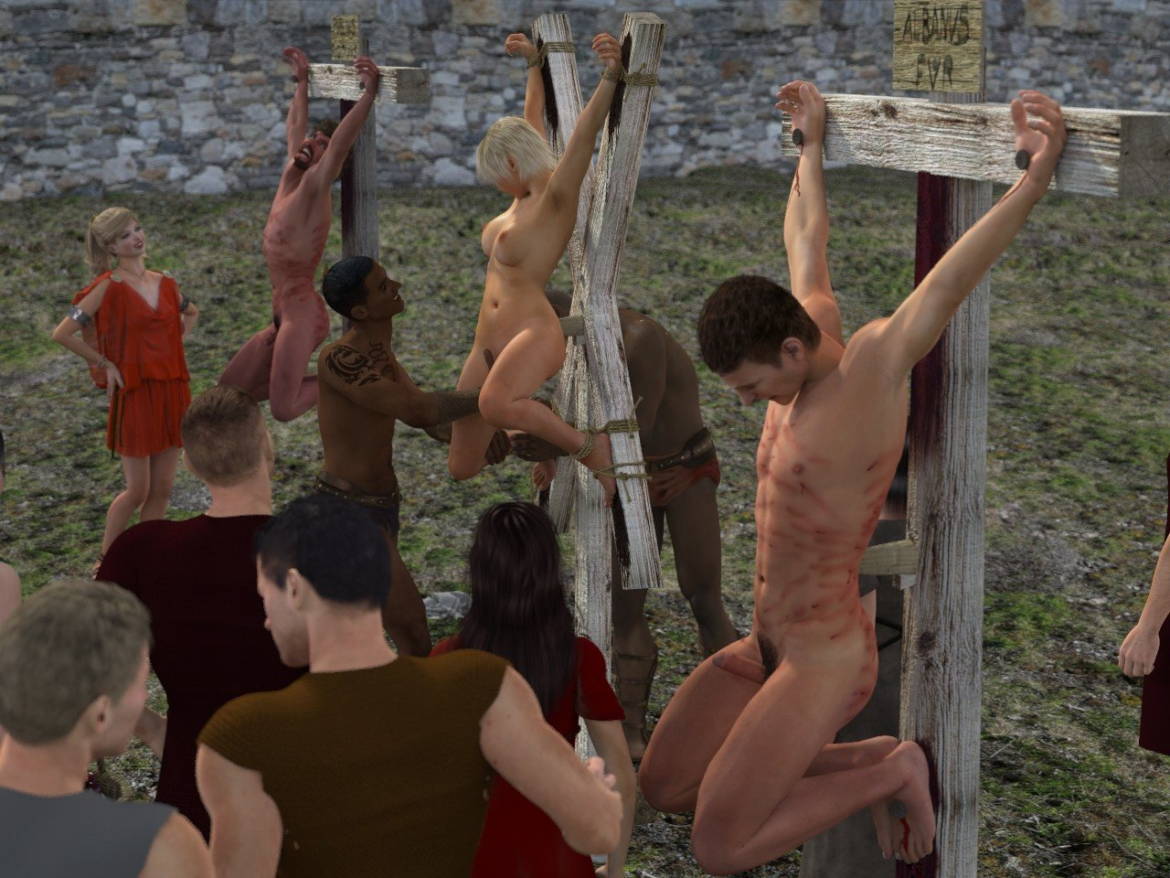 Crucified sex slaves