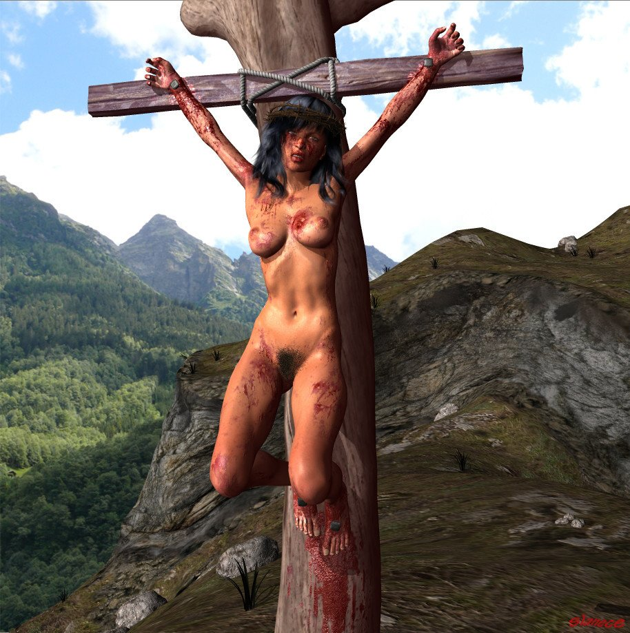 Setty woman crucified nude gives