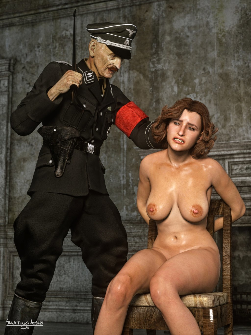 Nazi soldier fucks young ladies ass and mouth