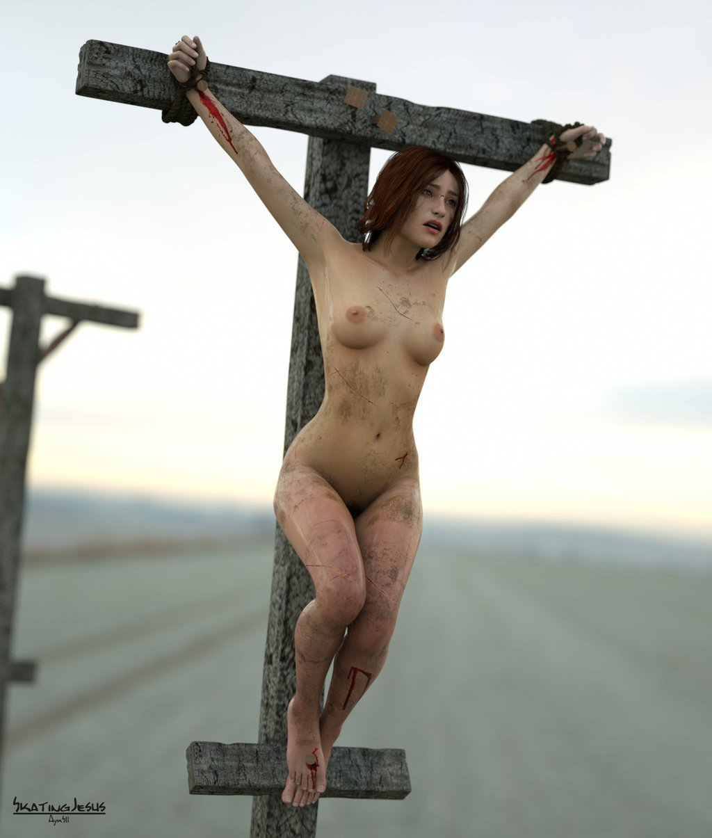 Nude adult crucified