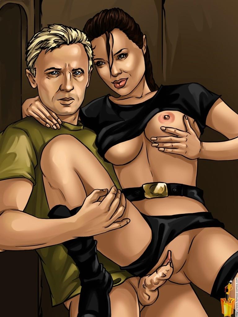 Секс с анжелиной крофт, большая попа трахается на диване