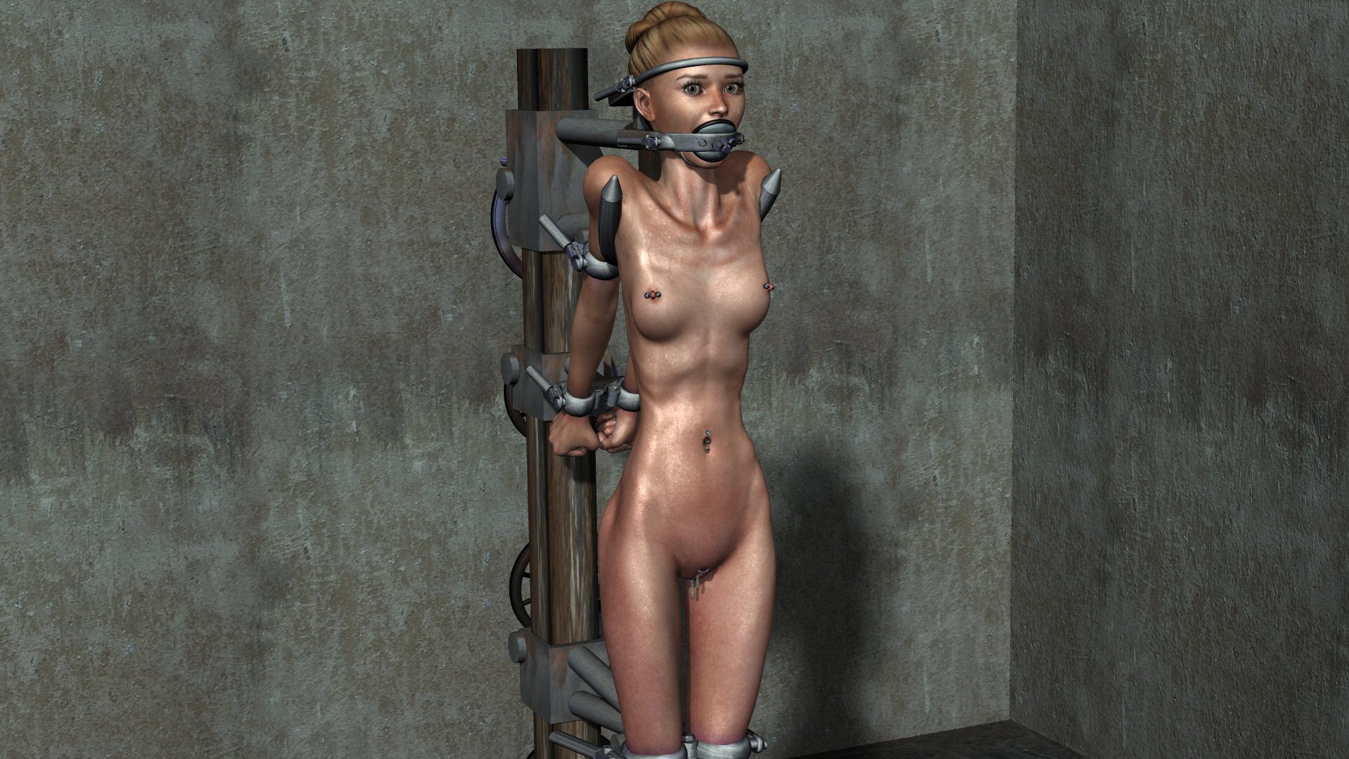 Leaned and chained against wall vibrated