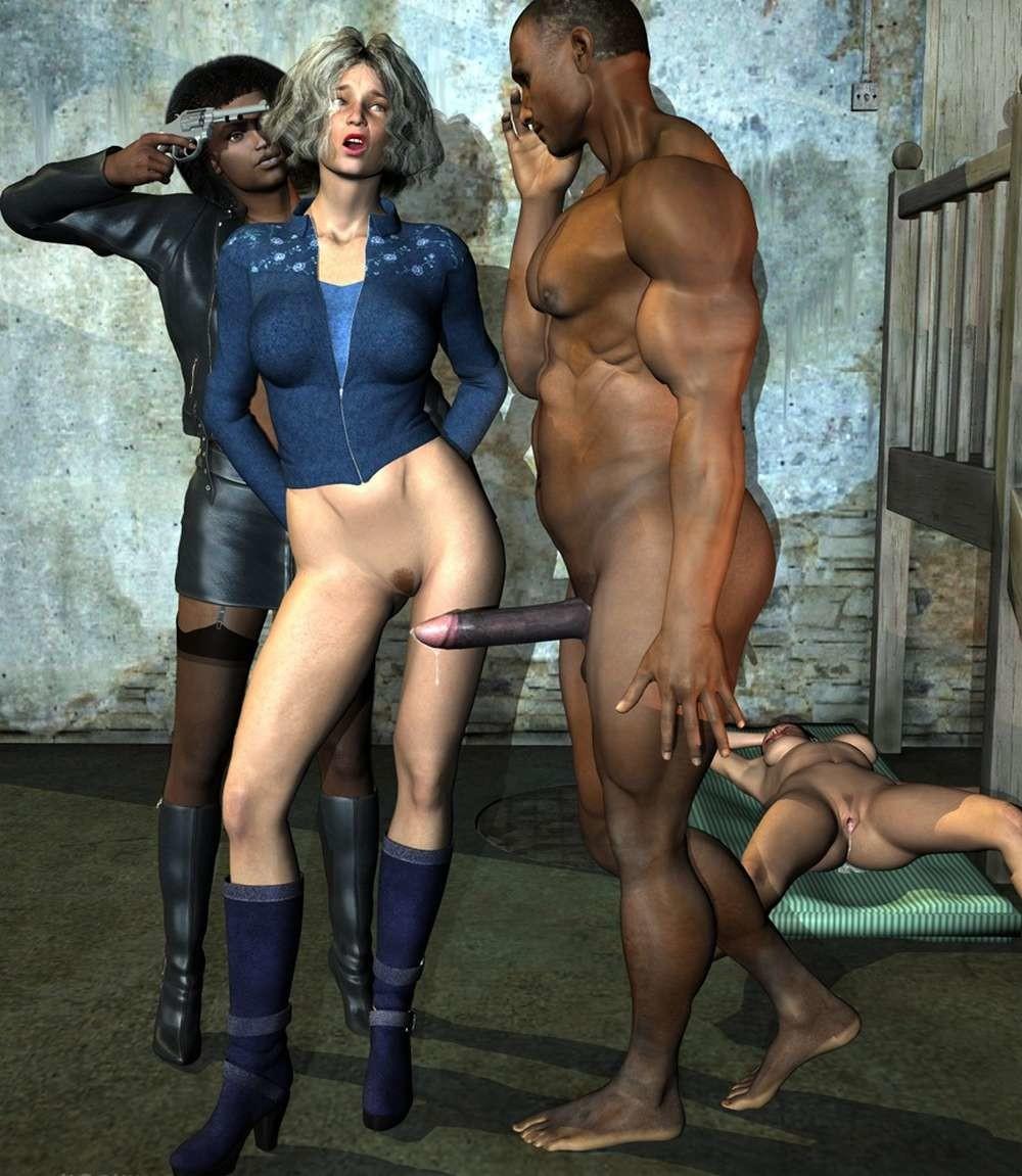Airy black interracial horror pantyhose
